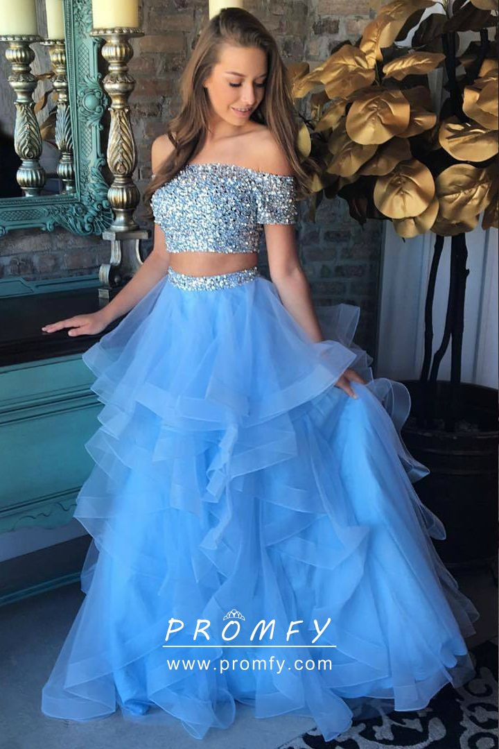 Sparkly Beaded Off-the-shoulder Two-piece Blue Tulle Prom