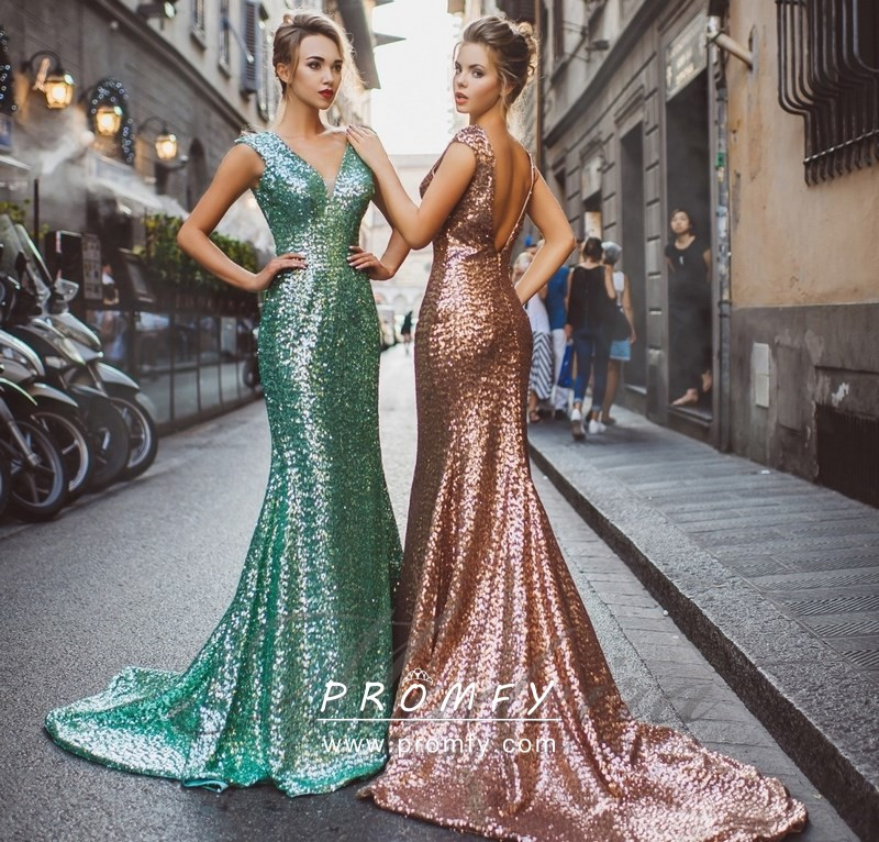 df27b08a1d4 Sparkly Apple Green   Rose Gold Sequin Floor Length Mermaid Formal ...