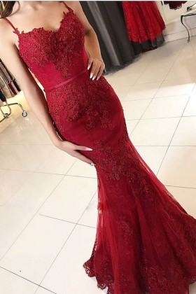 038204e80b108 Unusual ruby red lace and tulle sweetheart spaghetti straps mermaid formal  dress