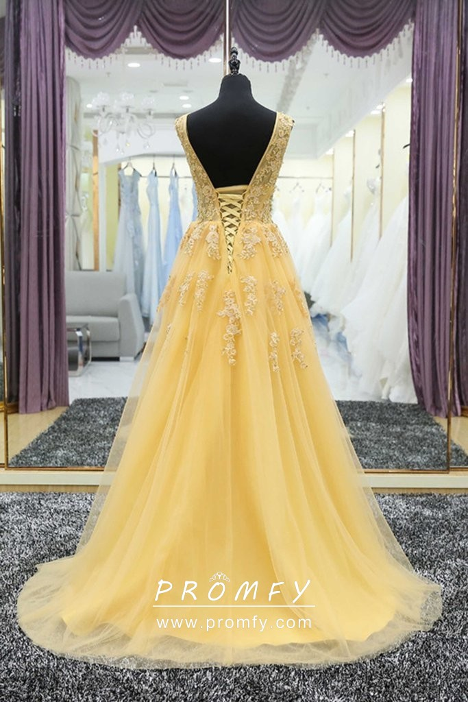 28fbd281ff Modest Yellow Lace and Tulle A-line Floor Length Evening Prom Formal ...