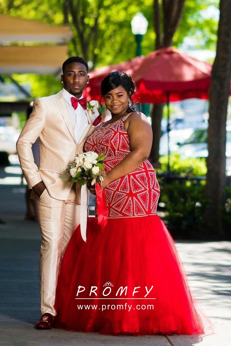 Beaded Red Tulle Plus Size Mermaid Long Prom Dress