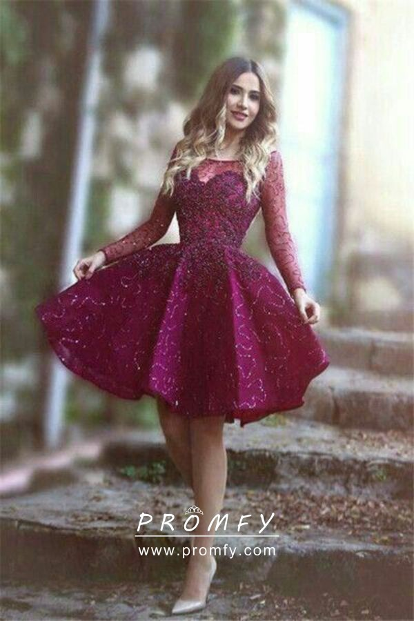 Sparkly Beaded Illusion Sweetheart Long Sleeve Wine Adorable Cocktail Dress