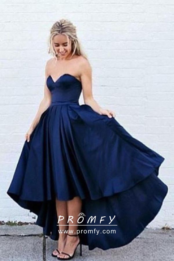 7d3bd1f0fb8 Navy Blue Satin Simple Strapless Sweetheart High-low Prom Dress ...
