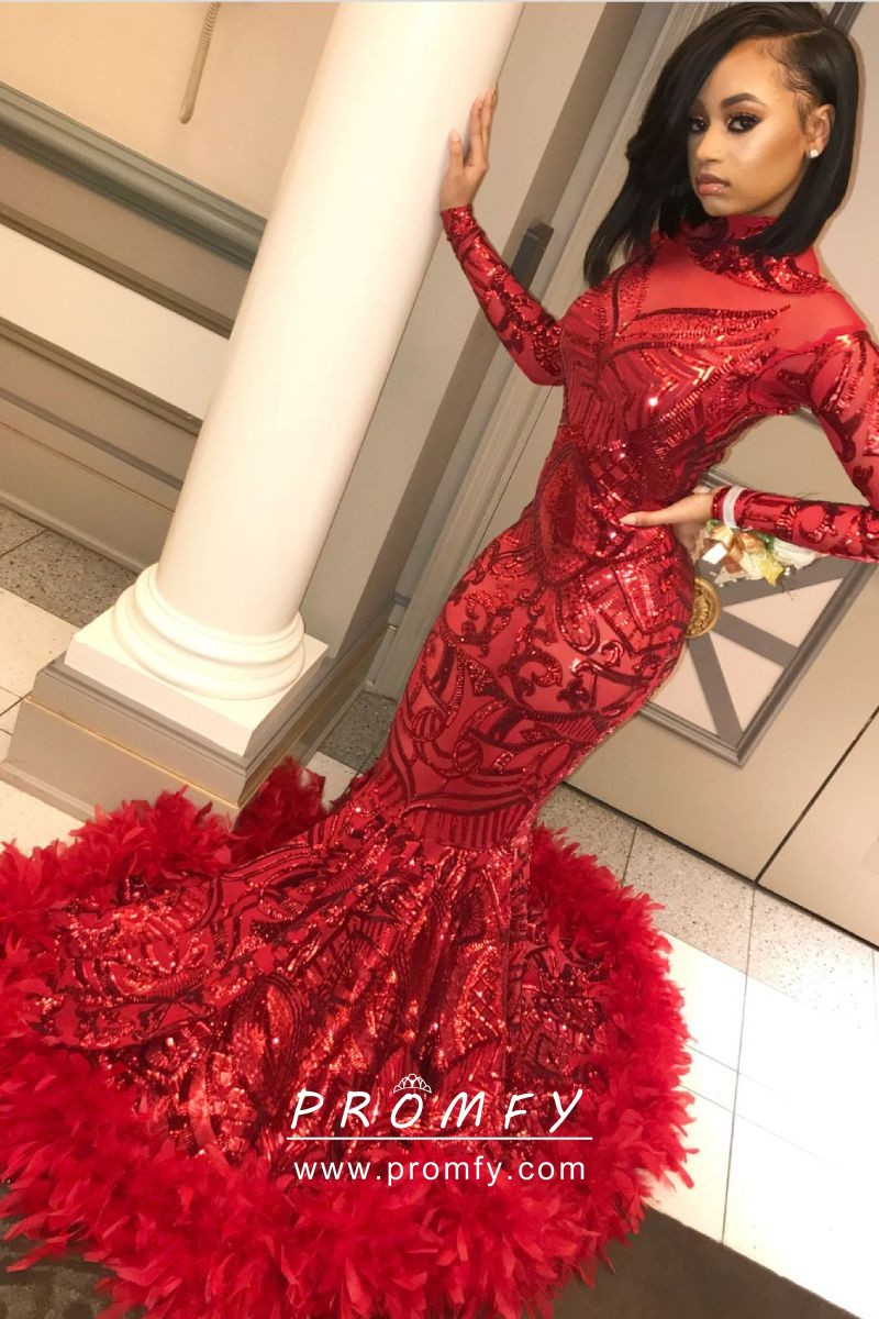 7fb8d640b752 Red Sequin and Feather Hemline Mermaid Floor Length Long Sleeve Prom ...