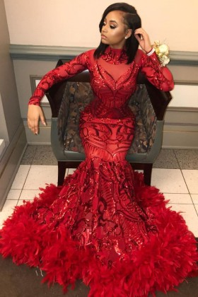 e7c7e25823 red sequin and feather hemline mermaid long sleeve prom dress