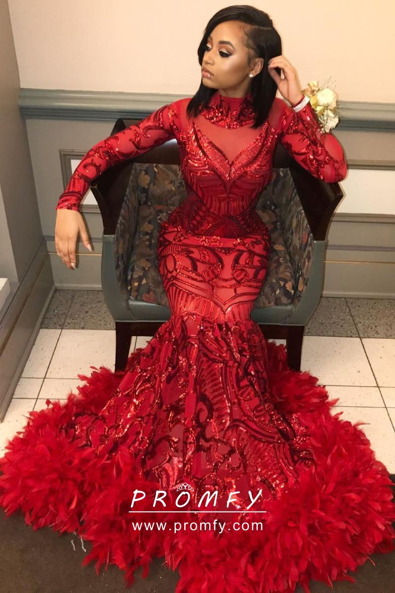 53ae15842d Red Sequin and Feather Hemline Mermaid Floor Length Long Sleeve Prom ...