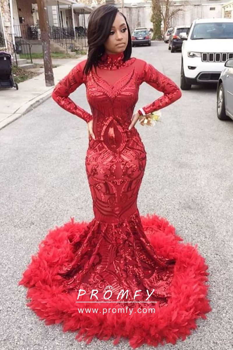 c3a4e803e81 Red Sequin and Feather Hemline Mermaid Floor Length Long Sleeve Prom ...