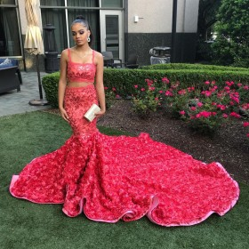 fdf0f8e6ebca0 cherry red sequin and 3D rose two piece mermaid cathedral train prom dress