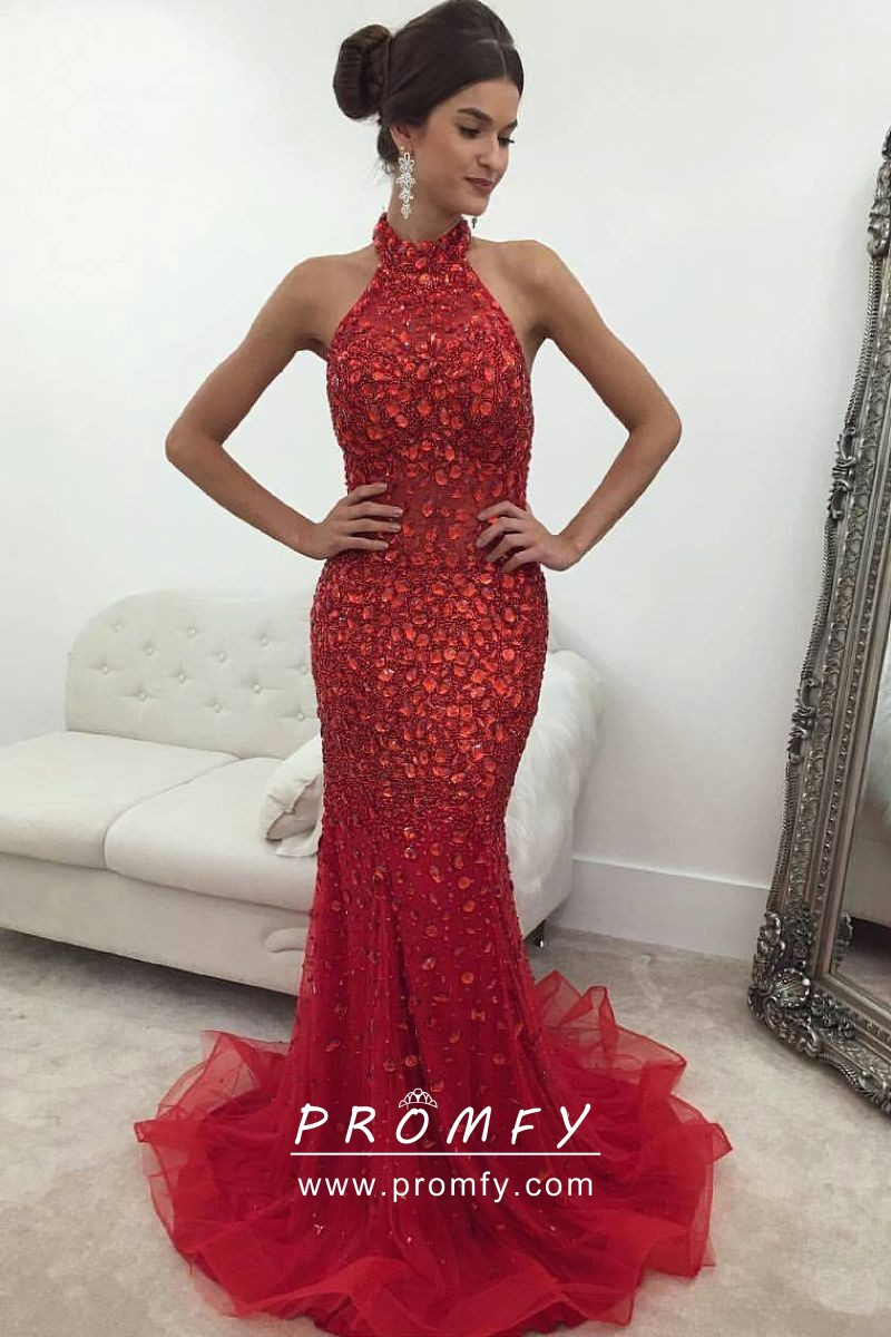 Sparkly Red Diamond Halter High Neck Prom Dress
