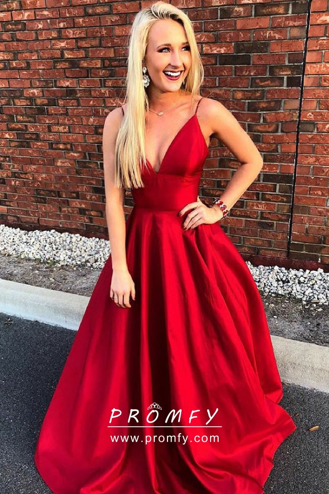 V-neck A-line Long Prom Dress