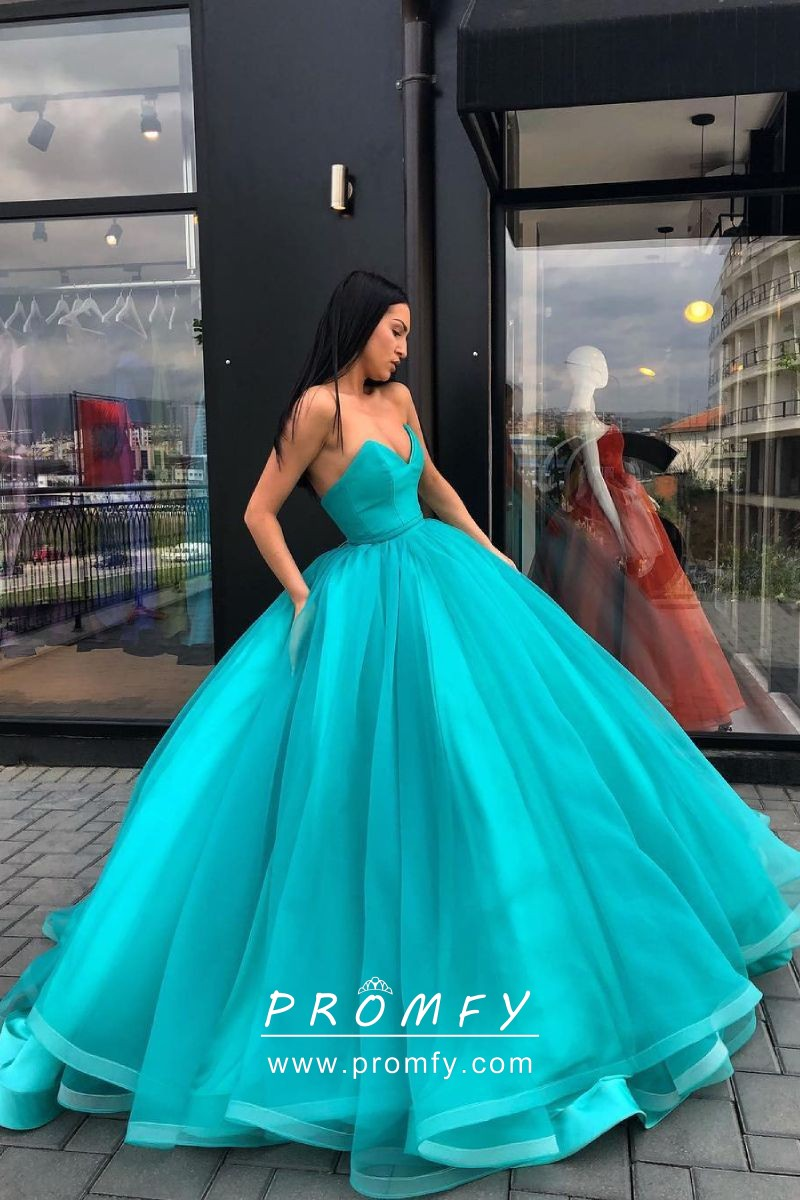 3369e12ebf Beautiful turquoise tulle overlay strapless floor length simple ball gown