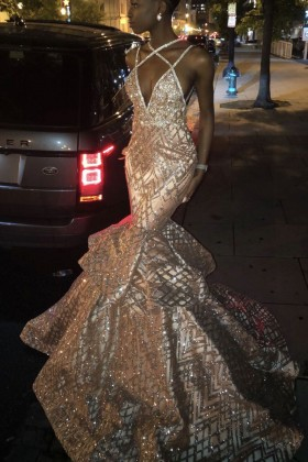 Sparkly glitter mermaid long African American prom dress pageant gown 3433e37c1