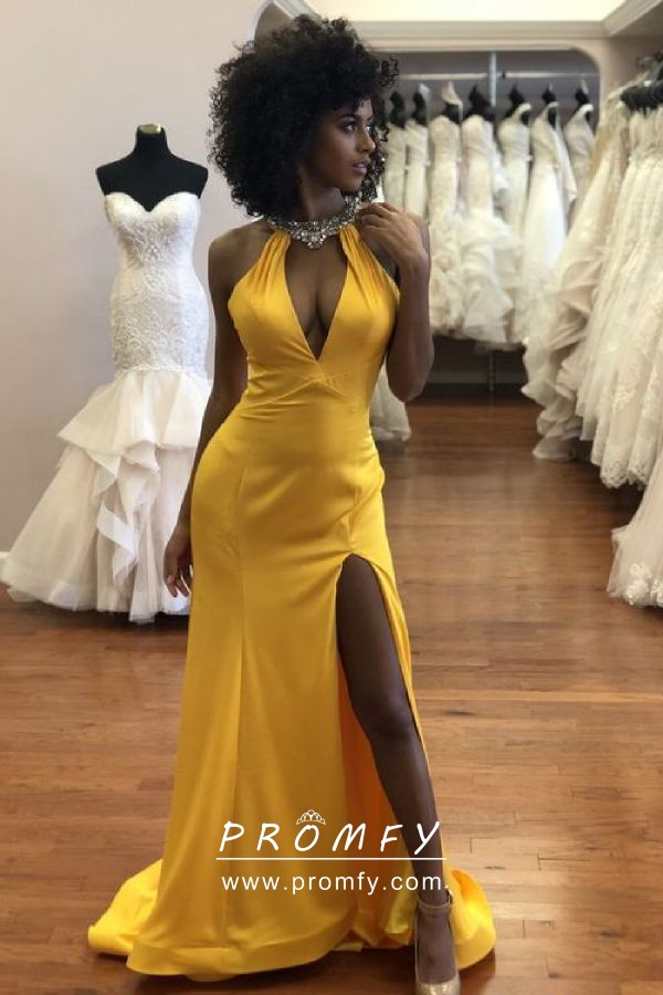 b7eecba8122 Glamorous beaded halter V neck gold yellow satin split long prom dress