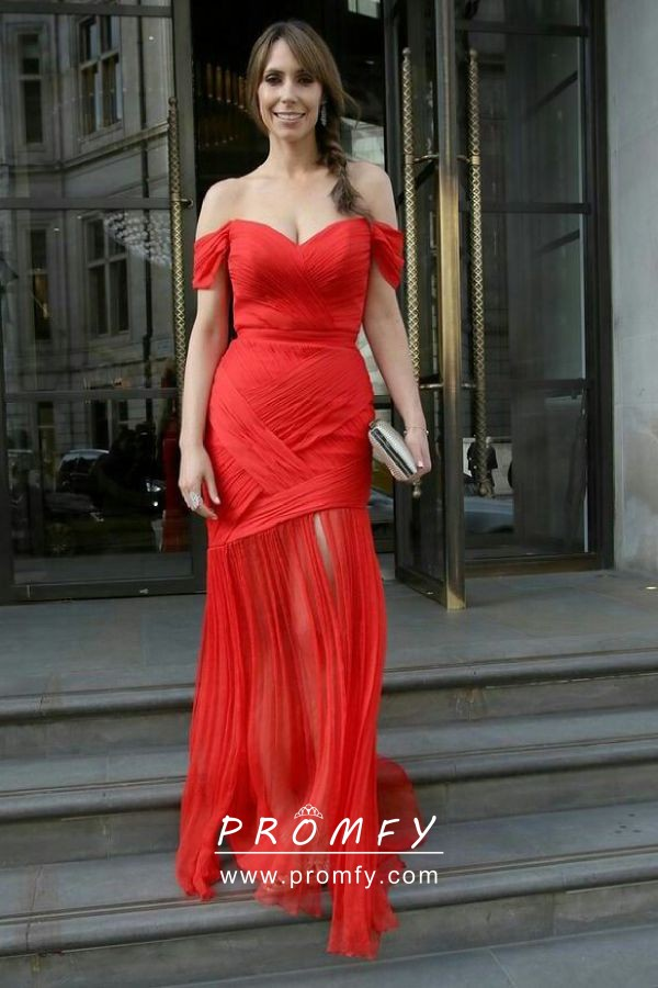 Delicate Criss Cross Pleated Red Chiffon Off The Shoulder Wedding Guest Dress