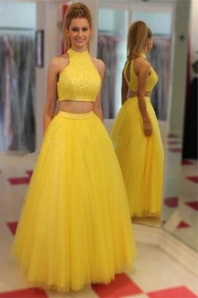 56343804af Classic two piece yellow lace and tulle puffy long prom dress