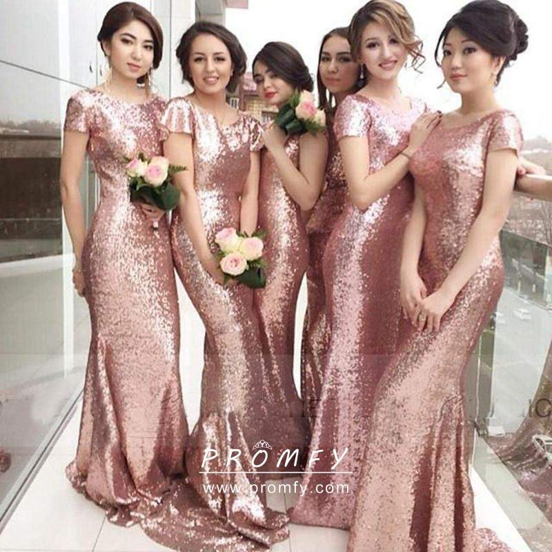 Sparkly Rose Gold Sequin Mermaid Bridesmaid Dresses Promfy