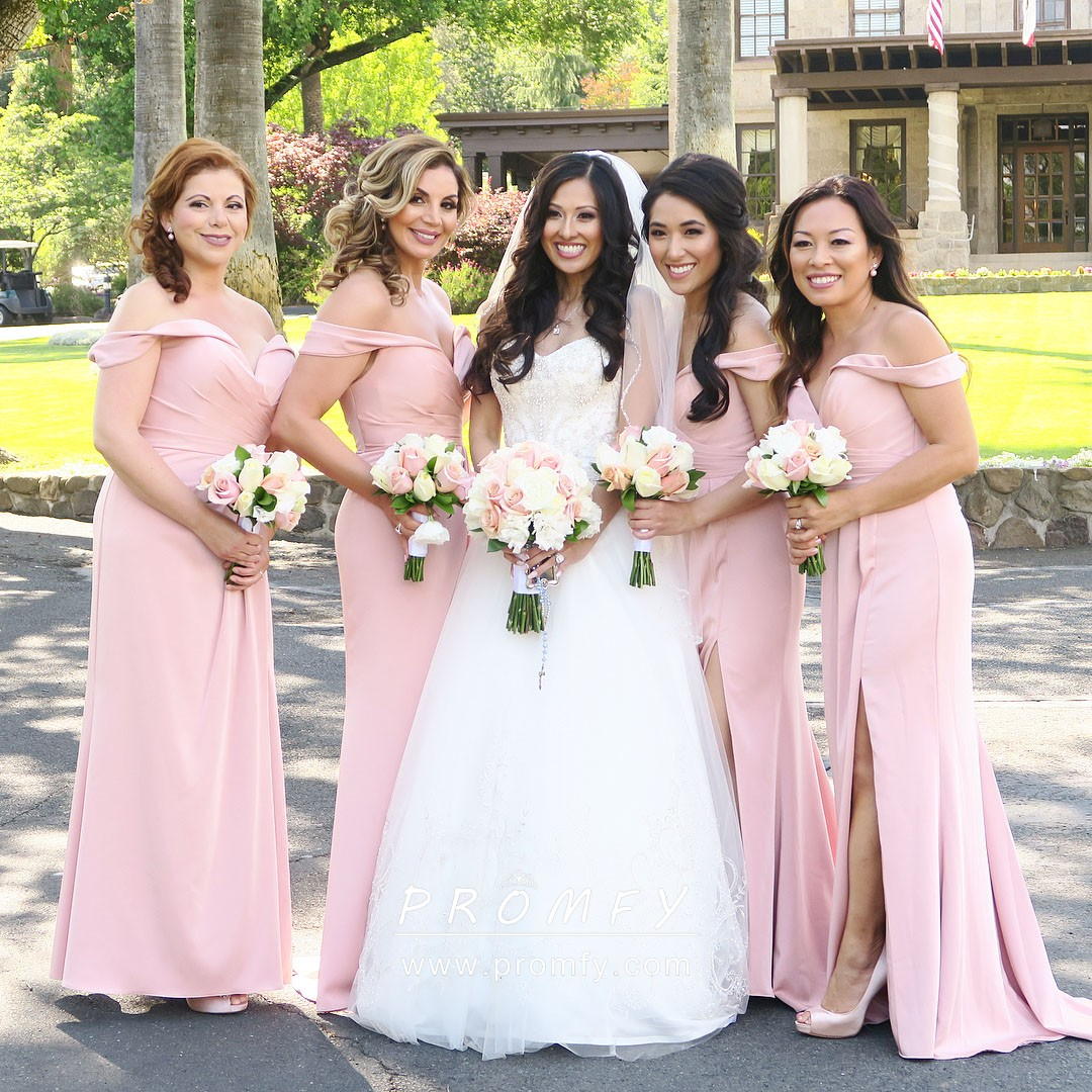 9481f318b7 Elegant Light Pink Off-the-shoulder Side Split Mermaid Long Bridesmaid  Dresses