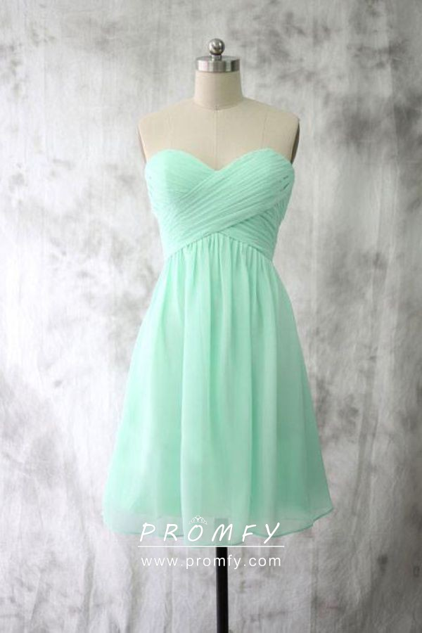 Mint Green Short Strapless Bridesmaid Dress