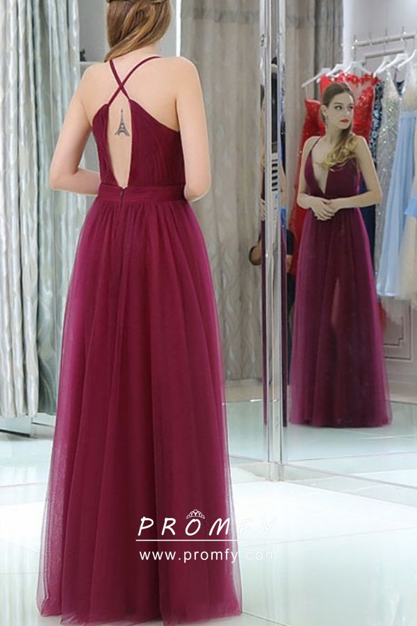619ce19280 Sexy Azalea Red Color Tulle Plunging V Neck High Slit A-line Long ...