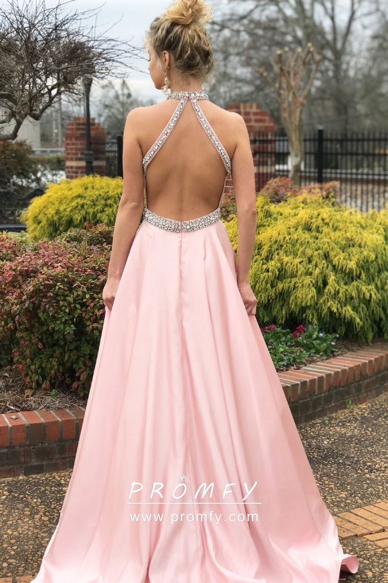 Beaded Halter Baby Pink Satin A-line