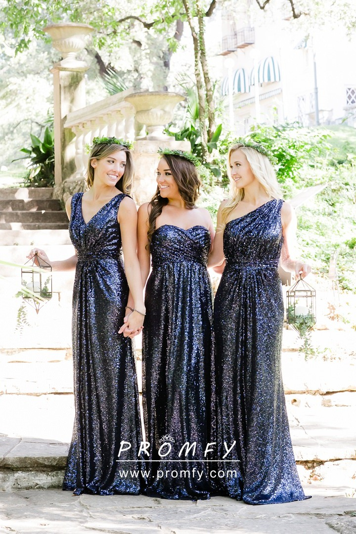 Sparkly Navy Blue Sequin Long