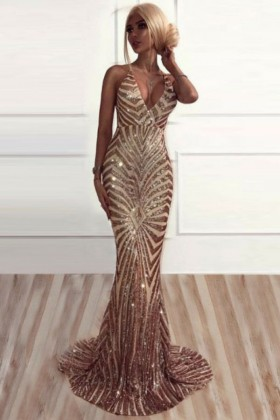 2a5eff77d1 Sparky gold sequin plunging V neckline long evening prom dress