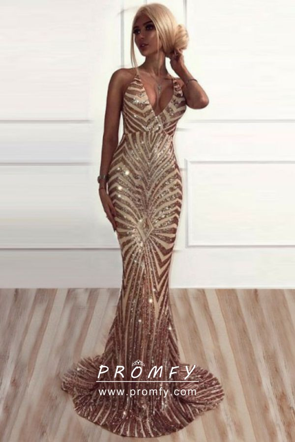 bd969d65 Sparky gold sequin plunging V neckline long evening prom dress. Sparky gold  sequin open back ...
