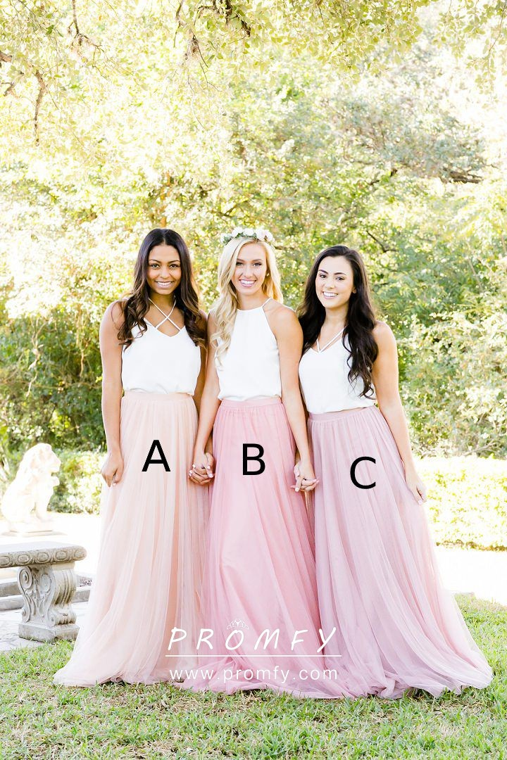 Two Tone White Jersey Pink Tulle Bridesmaid Dresses