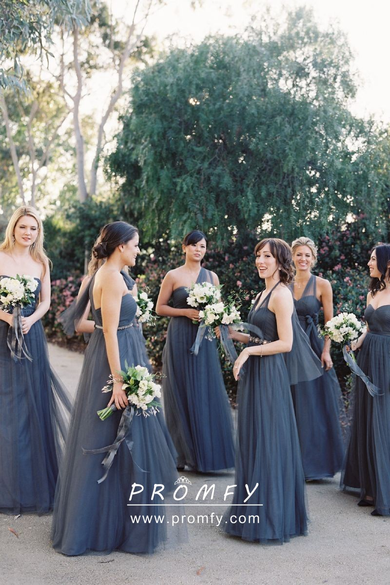 792504528e96 Exquisite dark steel blue tulle convertible A line long bridesmaid dresses