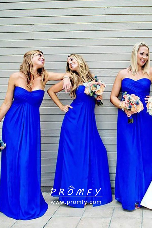 Royal Blue Strapless Bridesmaid Dress