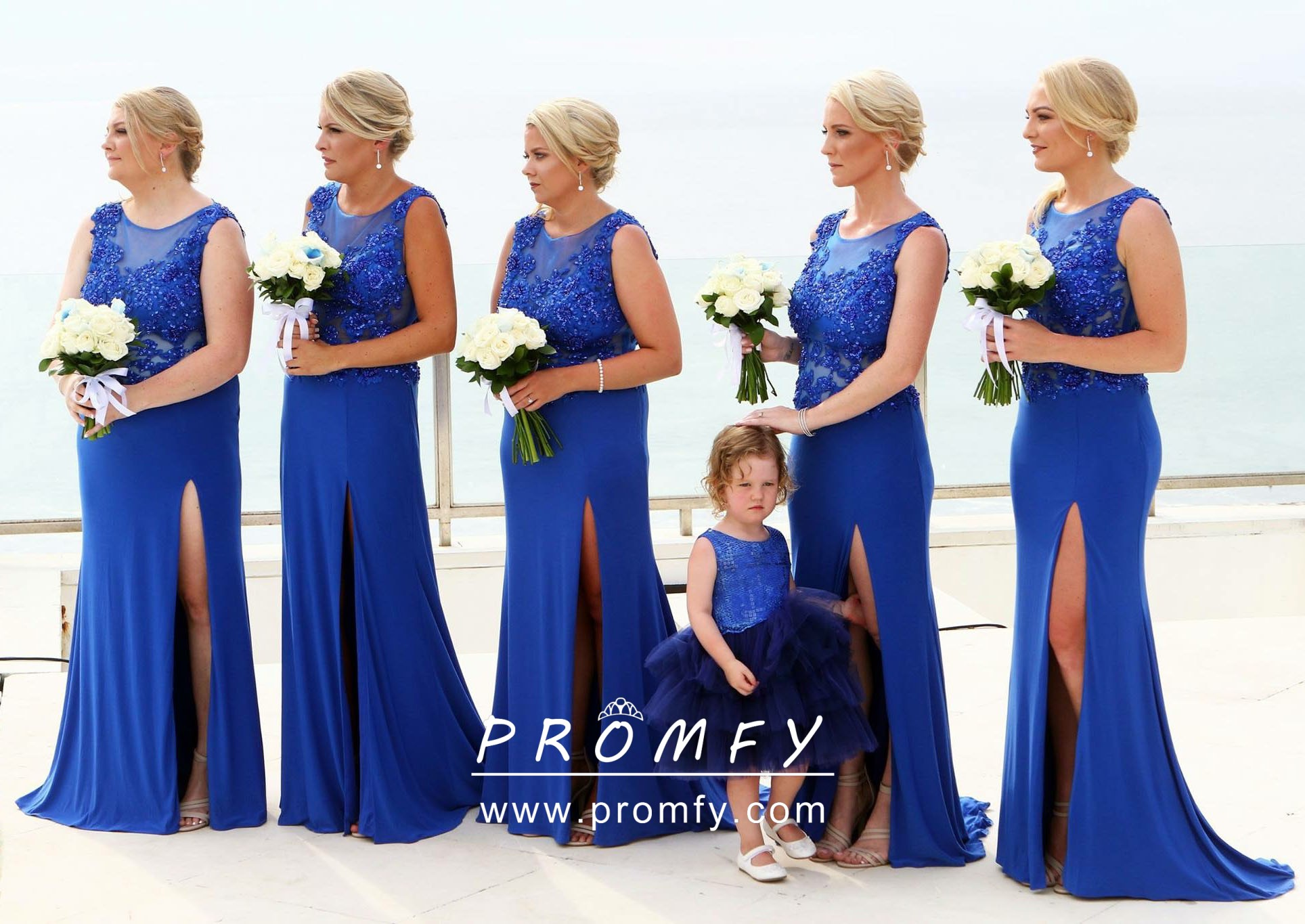 49e793d912b cobalt blue lace applique and chiffon fit and flare slit bridesmaid dresses