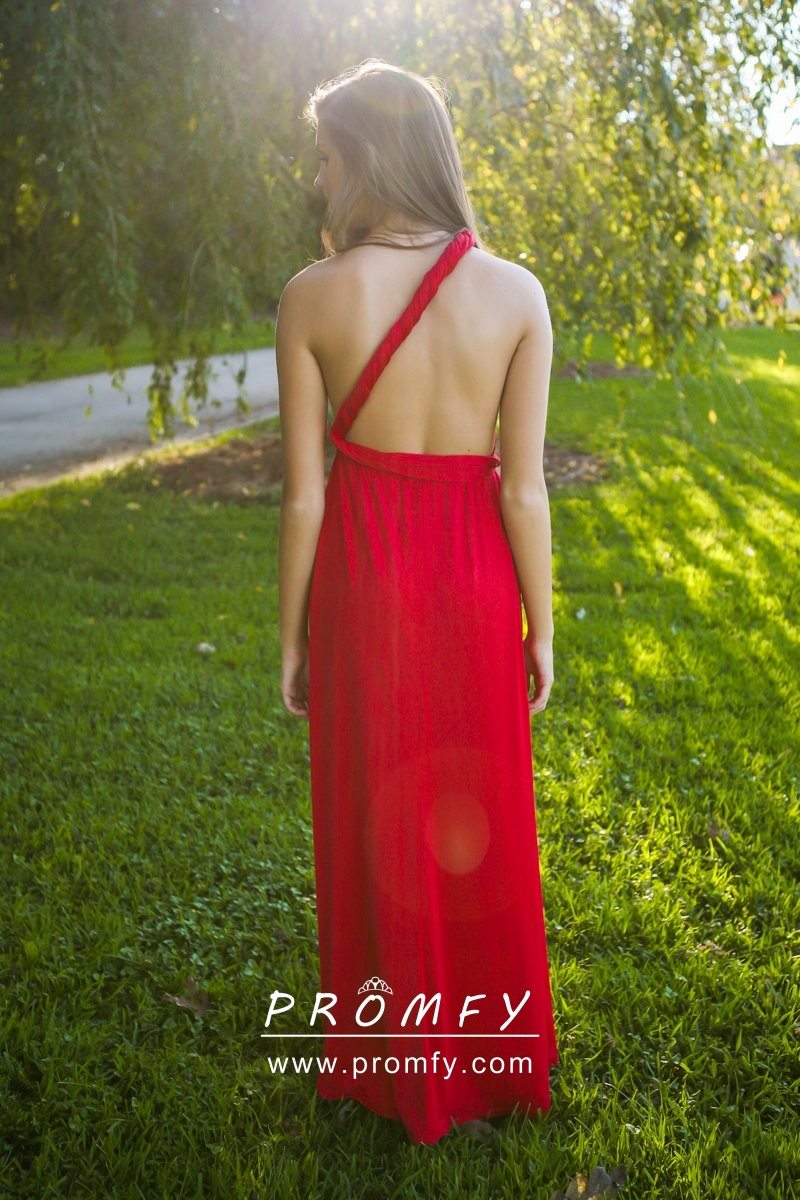 Beautiful Bright Red Jersey A Line Long Multiway Bridesmaidprom