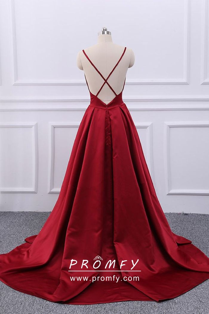 0006dad3977 Simple Dark Red Satin Spaghetti Straps Open Back Floor Length A-line ...