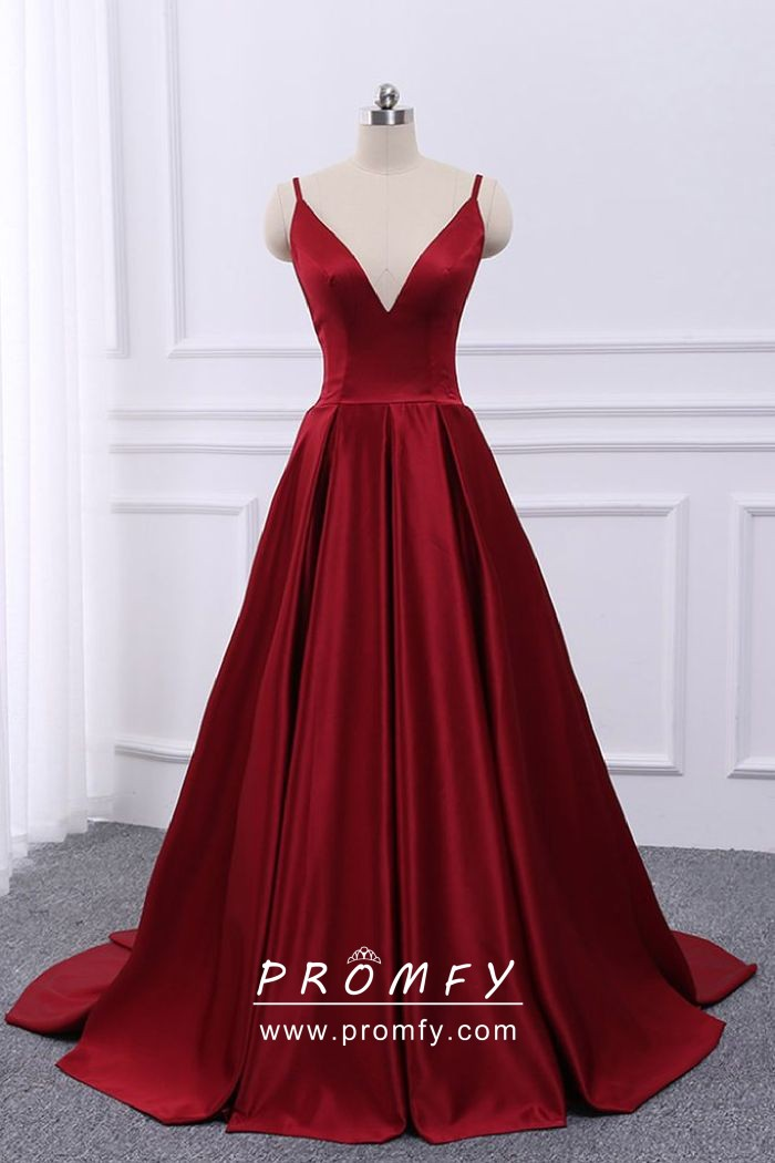 45595c7a30 simple dark red satin spaghetti straps open back floor length A line prom  dress