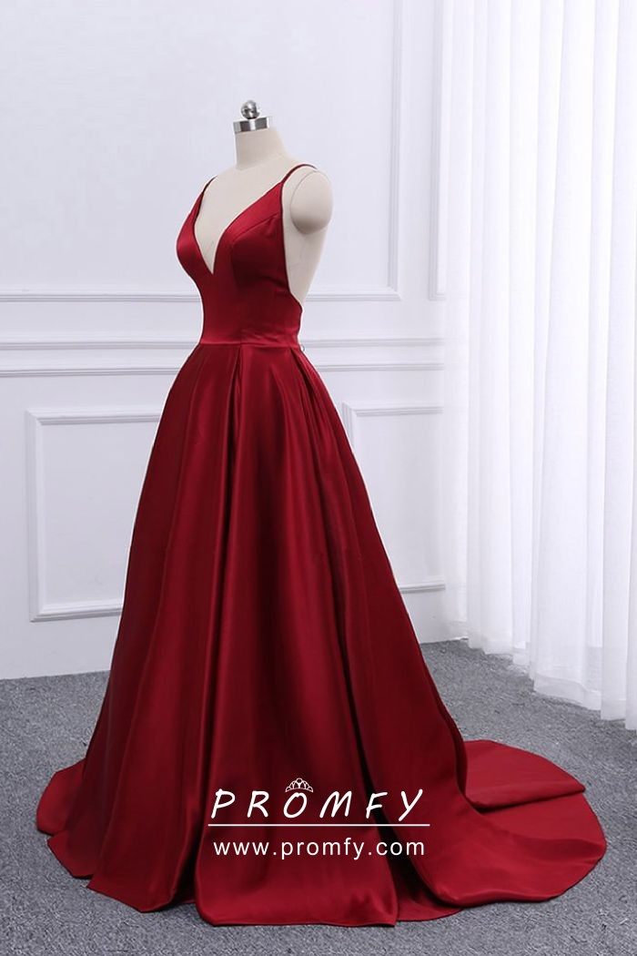 a2d95ccd56d ... floor length A line prom dress. simple dark red satin spaghetti straps  open back prom dress