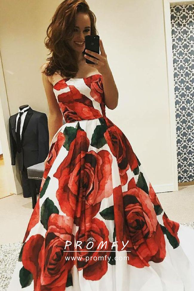 aaa3469add1 Huge red rose floral printed strapless white satin designer long prom dress