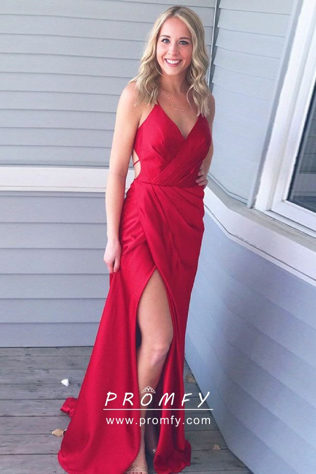 e7b5e4c3d7 Simple sexy red satin side slit open back spaghetti straps long prom dress
