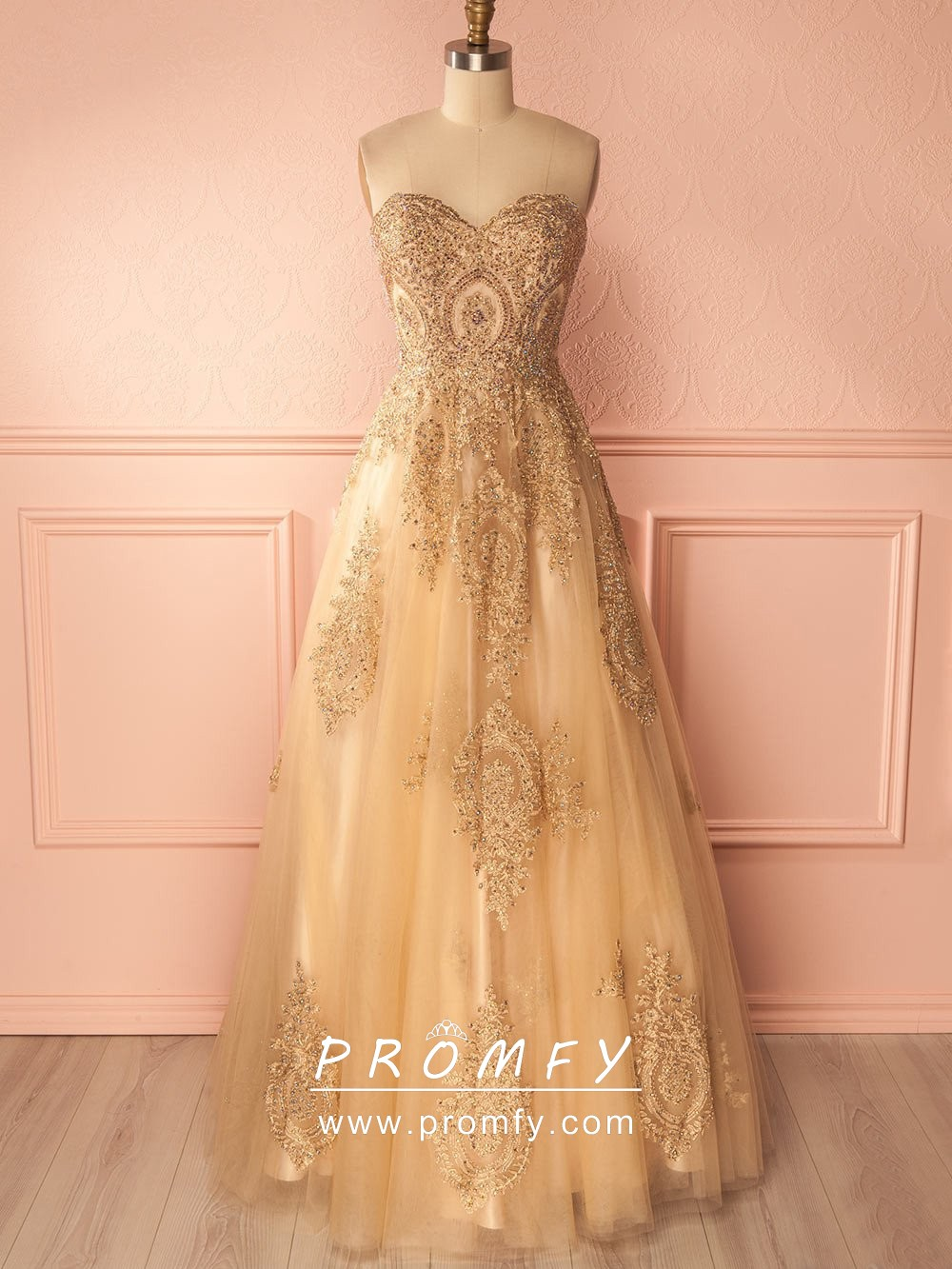 0e4df76a5f0 Sparkly beaded lace appliqued gold tulle puffy A line long prom dress