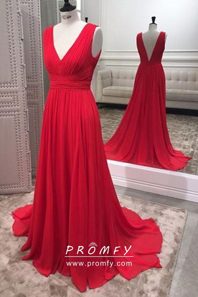 simple chiffon red gown
