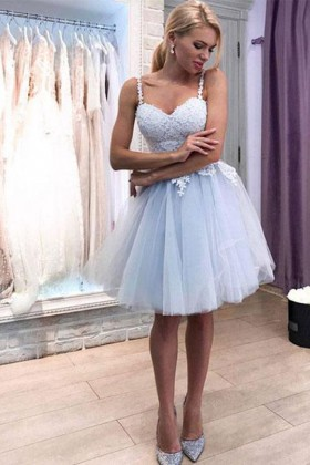 281453a53fc Light blue lace and tulle cute sweetheart short cocktail homecoming dress