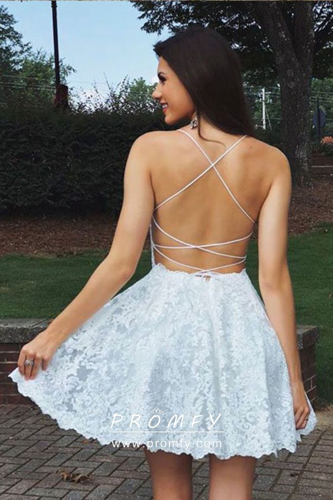 3f569af6c4b Off white lace simple backless spaghetti straps short A line dress