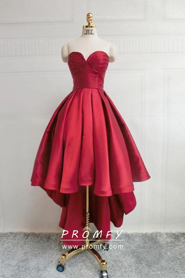 9849dc987f Cheap crimson red satin strapless sweetheart high low ball gown prom dress
