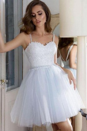 18cf820a8f8 Off white lace and tulle strapped short cocktail homecoming dress