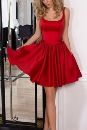 3b6445d353 Pretty red satin scoop neck with shoulder straps short cocktail party dress