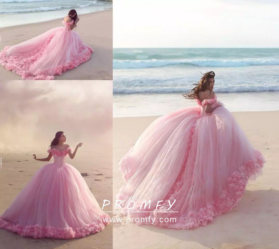 fbdec2c2811 Luxury 3D Flowers Pink Tulle Off-the-shoulder Basque Waist Beach ...