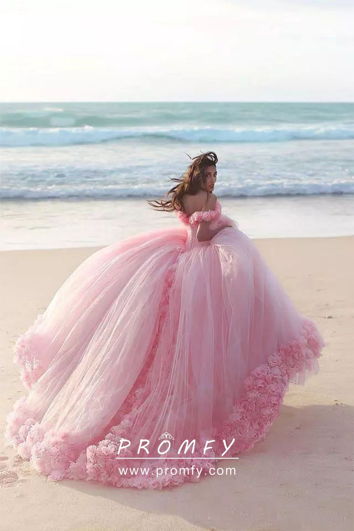 Flowers Pink Tulle Beach Ball Gown