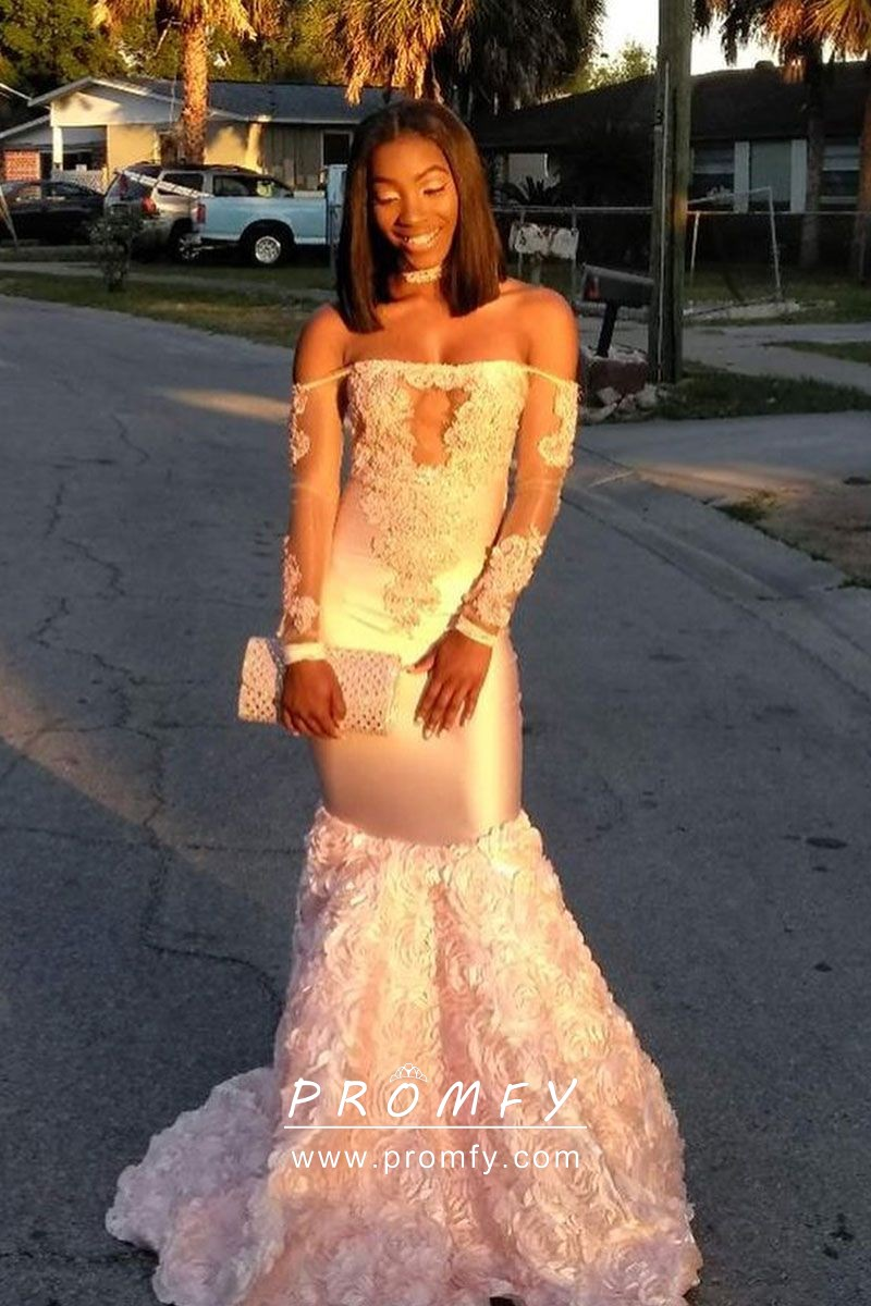 8af75643f2a off the shoulder blush lace and satin 3D rose mermaid long sleeve prom dress
