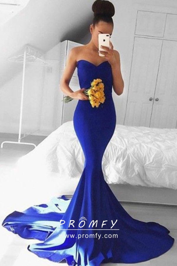 0fa88bf0905a Simple royal blue spandex strapless slim fit mermaid long prom formal dress