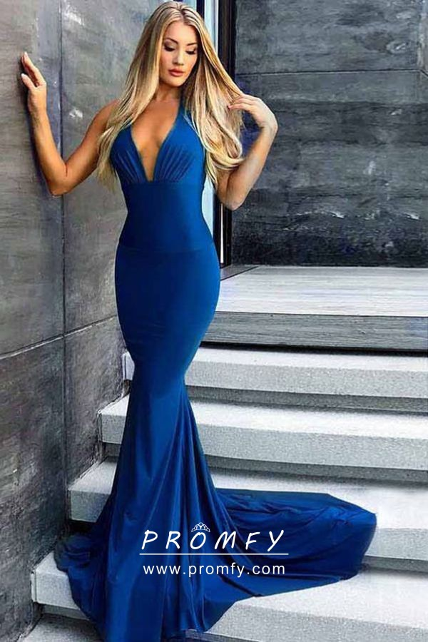 Elegant Indigo Blue Draped Halter V Neck Open Back Mermaid