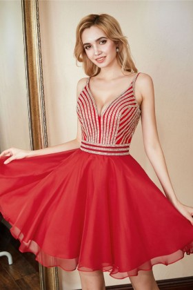 cdce0d2a8a4 Beautiful striped beaded red chiffon short A line cocktail homecoming dress